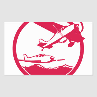 Fixed Wing Aircraft Taking Off Circle Retro Rectangular Sticker