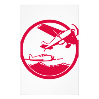 Fixed Wing Aircraft Taking Off Circle Retro Stationery