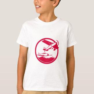 Fixed Wing Aircraft Taking Off Circle Retro T-Shirt