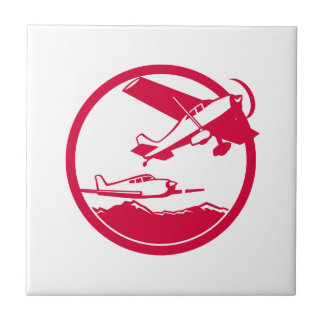 Fixed Wing Aircraft Taking Off Circle Retro Tile