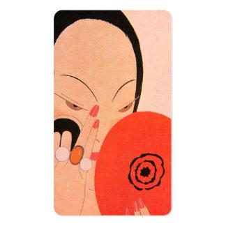 Fixing Her Makeup Business Card Template