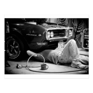 Fixing the muscle car! postcard