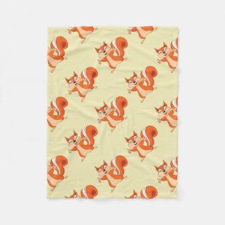 Fizzy the Playful Squirrel Fleece Blanket