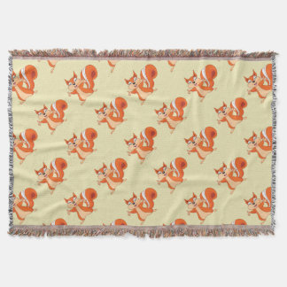 Fizzy the Playful Squirrel Throw Blanket