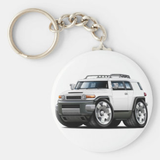 Fj Cruiser White Car Basic Round Button Key Ring