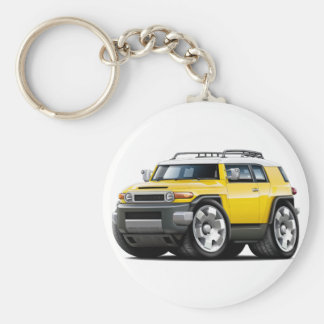 Fj Cruiser Yellow Car Basic Round Button Key Ring