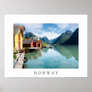 Fjaerlandsfjord fjord landscape in Norway Poster