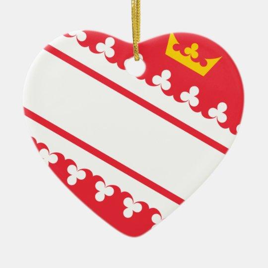 Flag Alsace (France) Drapeau Alsace Flagge Elsass Ceramic Heart Decoration