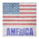 Flag America Bricks Gallery Wrap Canvas