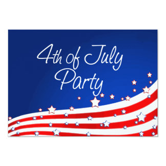 """Flag and Background 4th of July Party 5"""" X 7"""" Invitation Card"""