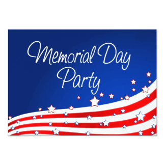 """Flag and Background Memorial Day Party 5"""" X 7"""" Invitation Card"""