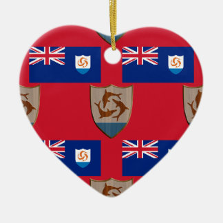 Flag and Crest of Anguilla Ceramic Ornament