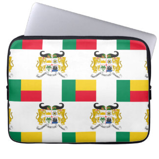 Flag and Crest of Benin Laptop Sleeves