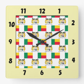 Flag and Crest of Benin Square Wall Clock