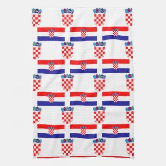 Flag and Crest of Croatia Tea Towel