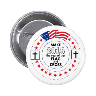 Flag and Cross 6 Cm Round Badge
