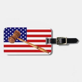 FLAG AND GAVEL LUGGAGE TAG