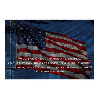 Flag and headstones - Churchill quote Poster