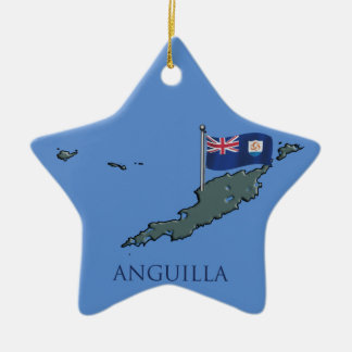 Flag and Map of Anguilla Ceramic Ornament