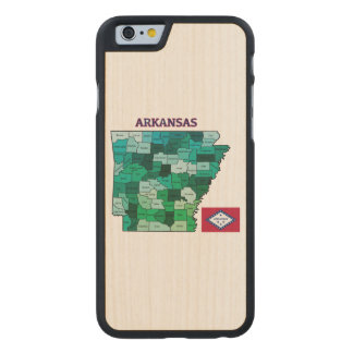 Flag and Map of Arkansas Carved® Maple iPhone 6 Case