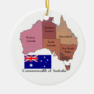 Flag and Map of Australia Ceramic Ornament