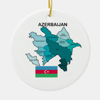 Flag and Map of Azerbaijan Ceramic Ornament