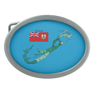 Flag and Map of Bermuda Belt Buckle