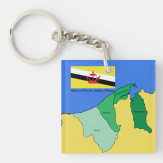 Flag and Map of Brunei Double-Sided Square Acrylic Key Ring