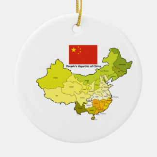 Flag and Map of China Ceramic Ornament