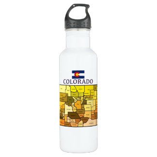 Flag and Map of Colorado 710 Ml Water Bottle