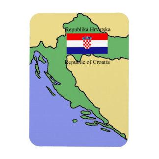Flag and Map of Croatia Rectangular Photo Magnet