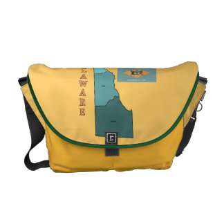 Flag and Map of Delaware Courier Bag