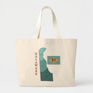 Flag and Map of Delaware Tote Bags