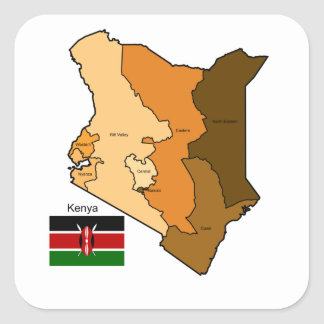 Flag and Map of Kenya Square Sticker