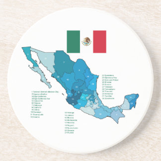 Flag and Map of Mexico Coaster