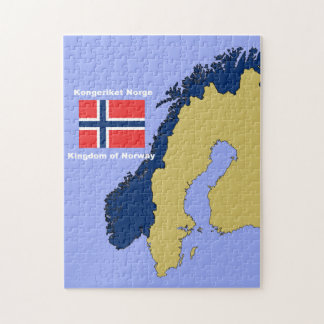 Flag and Map of Norway Jigsaw Puzzle