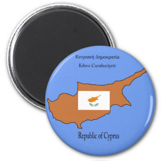 Flag and Map of Republic of Cyprus 6 Cm Round Magnet