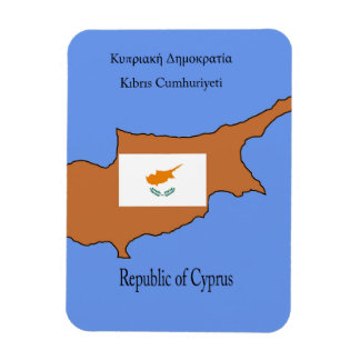 Flag and Map of Republic of Cyprus Rectangular Photo Magnet