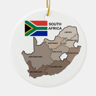 Flag and Map of South Africa Ceramic Ornament