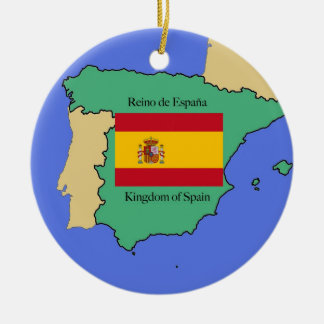 Flag and Map of Spain Ceramic Ornament