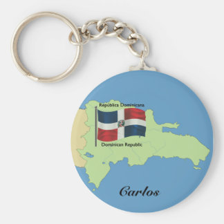 Flag and Map of the Dominican Republic Basic Round Button Key Ring