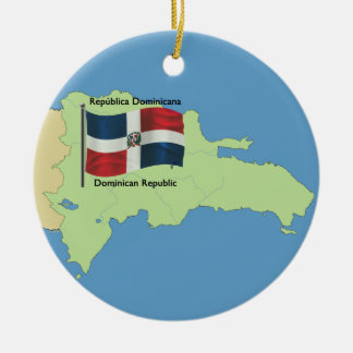 Flag and Map of the Dominican Republic Ceramic Ornament