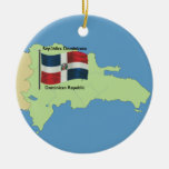Flag and Map of the Dominican Republic Christmas Ornament