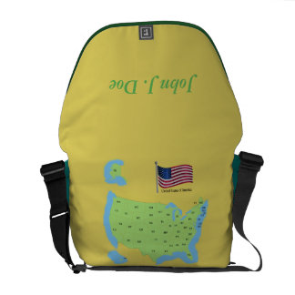 Flag and Map of USA Courier Bags