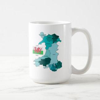 Flag and Map of Wales Mug
