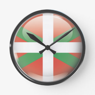 Flag and shield of Euskadi Round Clock
