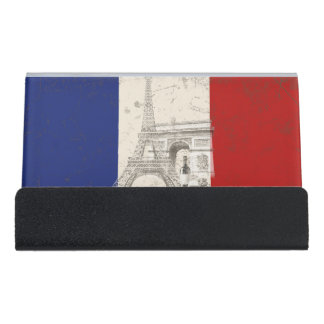 Flag and Symbols of France ID156 Desk Business Card Holder