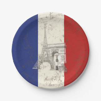 Flag and Symbols of France ID156 Paper Plate