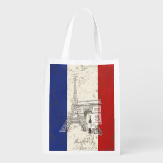 Flag and Symbols of France ID156 Reusable Grocery Bag
