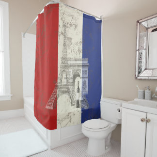 Flag and Symbols of France ID156 Shower Curtain